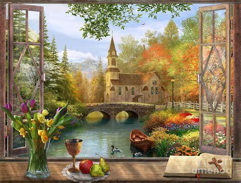 autumn church frame digital art  dominic davison
