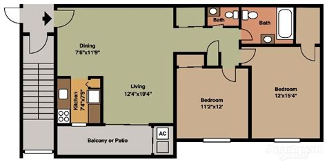 2 Bedroom 1 Bath Floor Plans by Floor Plans Pricing Canal House Apartments