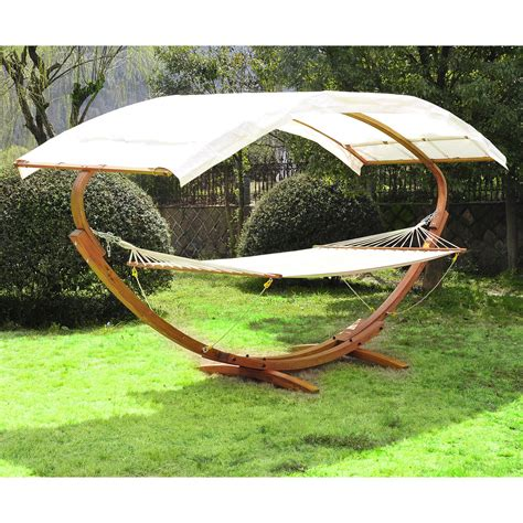 Canopy Hammock by Patio Outdoor Curved Arc Hammock Stand Wooden Bed