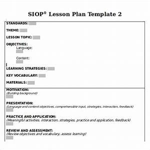 8 siop lesson plan templates download free documents in for Siop lesson plan template 2 example