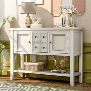 Console, Table, Buffet, Sideboard, Sofa, Table, With, Four, Storage, Drawers, Two, Cabinets, And, Bottom