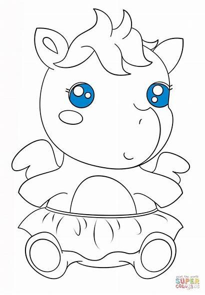 Kawaii Colorear Coloring Unicornios Dibujos Coloriage Unicornio