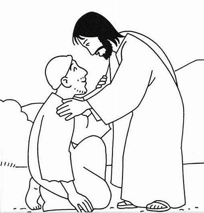 Jesus Heals Coloring Healing Miracles Colouring Lepers