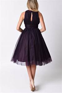 Unique Vintage Eggplant Swing Dress from Omaha by Daisy ...