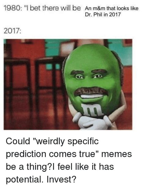 Meme M - 1980 i bet there will be an m m that looks like dr phil in 2017 2017 i bet meme on me me