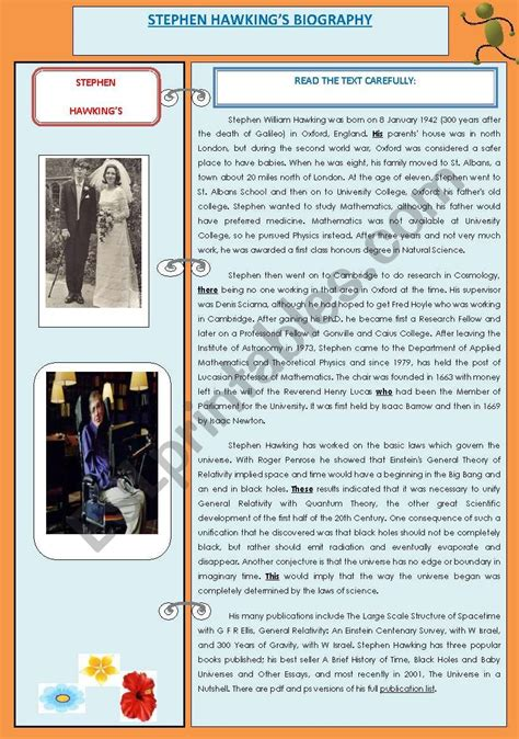 stephen hawking biography worksheet stephen hawking 180 s biography science universe esl