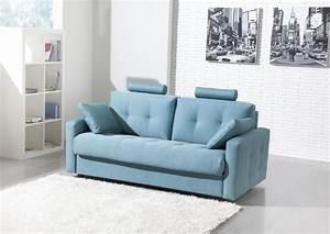 Acheter votre canape contemporain tissu bleu avec tetiere for Canapé contemporain tissu