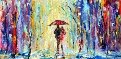 Couple in Rain in oil pastel