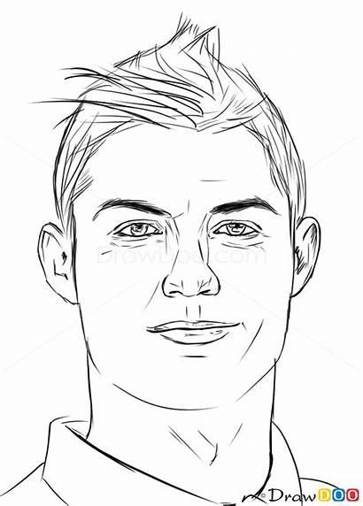 Ronaldo Cristiano Draw Messi Drawing Celebrities Coloring