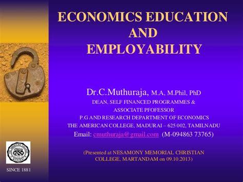 drcmuthurajas employability  economics education