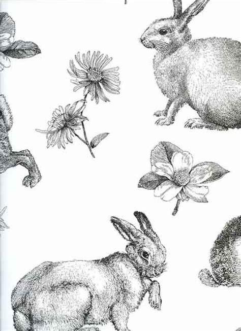 Vintage Animal Wallpaper - contemporary retro vintage wallpaper rabbits hares animals