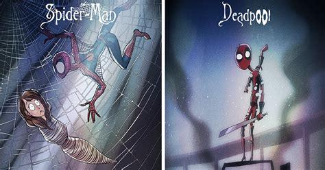 superheroes redrawn  tim burtons style