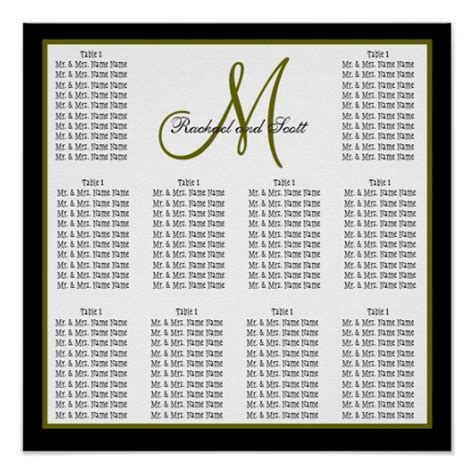 wedding seating chart poster template template wedding seating chart monogram names poster zazzle