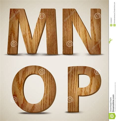 wooden alphabet letters grunge wooden alphabet letters m n o p vector stock