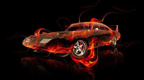 dodge charger daytona muscle fire abstract car  el tony