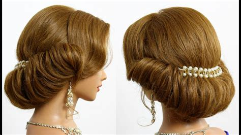 bridal prom updo hairstyle  medium hair tutorial youtube