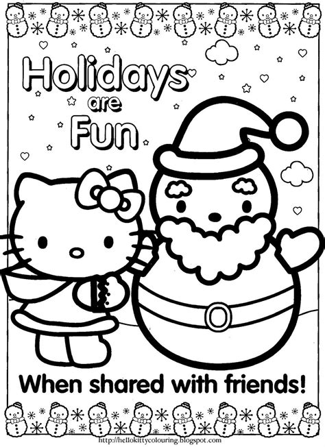 Hello Kitty Holiday Coloring Pages Color Bros