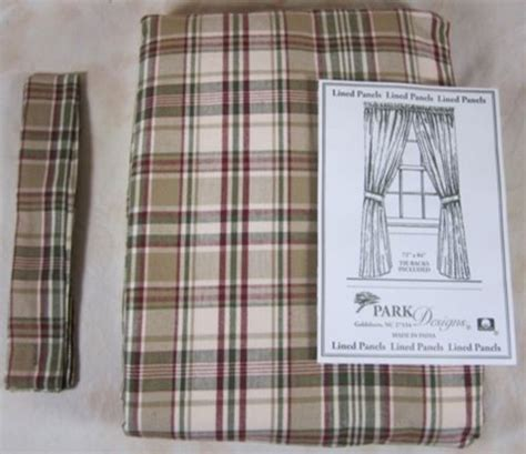 country burgundy green ivory plaid thyme lined curtain