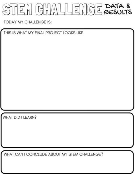 stem challenge worksheets  printable  bins