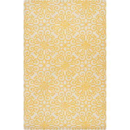 yellow throw rug 2 x 3 floral burst golden yellow and tufted