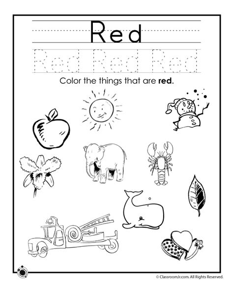 kindergarten color worksheets coloring home