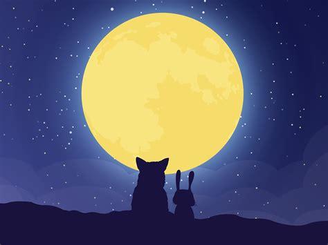 cartoon fox rabbit full moon  high quality wallpaper