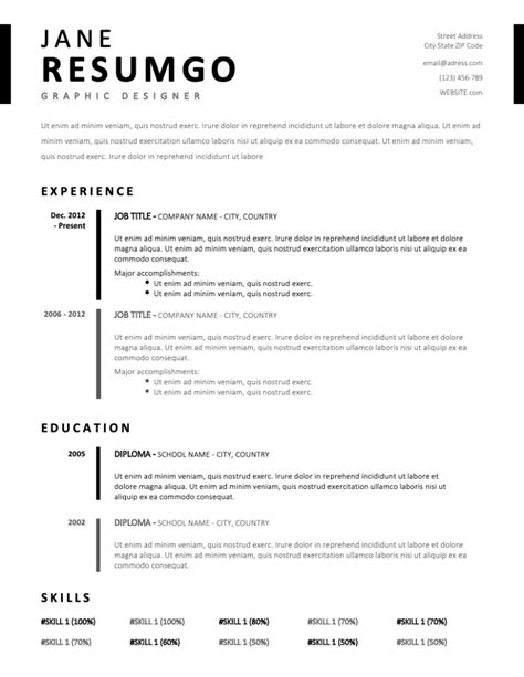 TIMO – Simple & Stylish Resume Template - ResumGO.com (With images) | Free professional resume