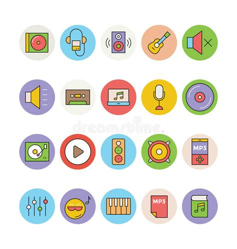 colored vector icons  stock photo image