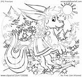 Donkey Outline Magical Coloring Clipart Royalty Illustration Rf Bannykh Alex sketch template