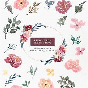 Burgundy Blush Navy Watercolor Flowers Clipart Set