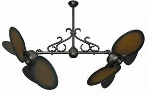Twin star ii double ceiling fan with inch distressed