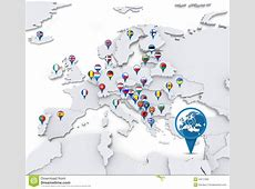 Map Of Europe With National Flags Stock Illustration