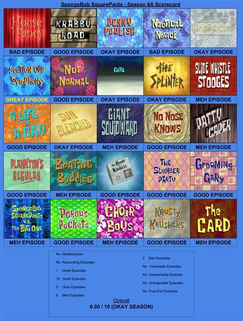 Spongebob Squarepants Season 6a Scorecard By