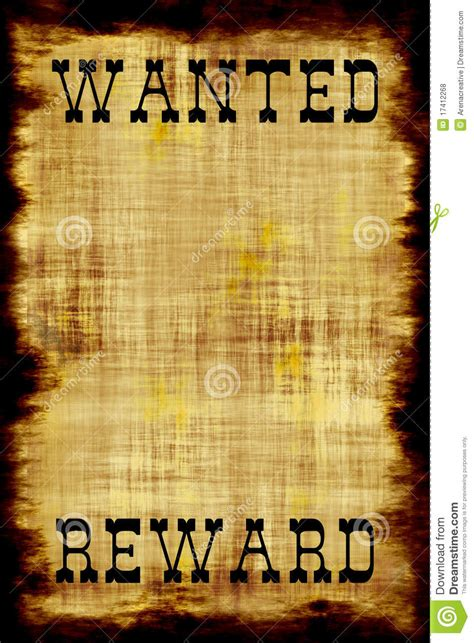blank wanted outlaw poster royalty  stock