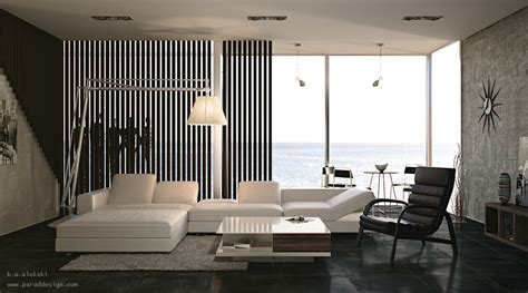 black and white home interior living rooms with great views