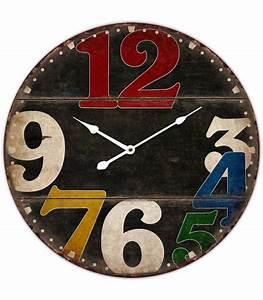 Horloge Murale Bois : horloge murale ronde noir en bois et chiffres multicolores ~ Teatrodelosmanantiales.com Idées de Décoration