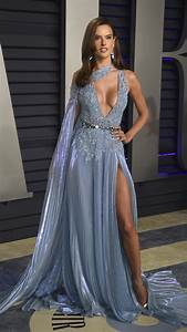 Alessandra Ambrosio Blue Pleated Prom Celebrity Dress With