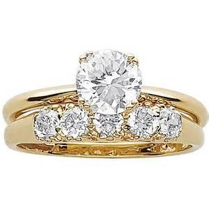 wedding rings sets at walmart 3 3 carat t g w cz 14kt gold plated wedding ring set walmart