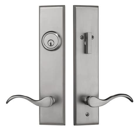 contemporary entry door handleset  brushed nickel