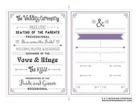 free printable wedding program mountainmodernlife com