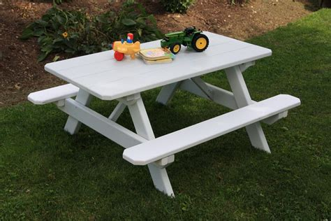 kids plastic picnic table set bench chair play   door