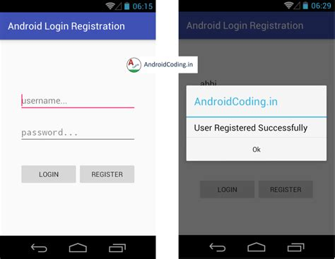 android database android login register mysql php part 1
