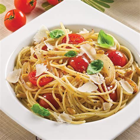spaghettis aux tomates cerises et noix de pin recettes cuisine et nutrition pratico pratique