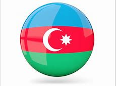 Glossy round icon Illustration of flag of Azerbaijan