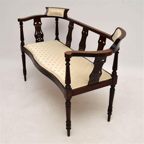 antique settee bench antique edwardian inlaid mahogany bench la50990