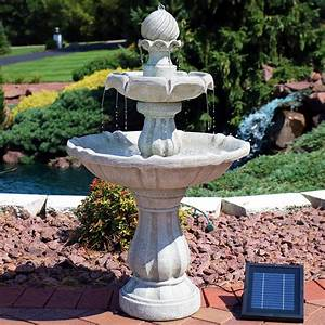 sunnydaze, 2-tier, solar, powered, outdoor, water, fountain, with, battery, backup