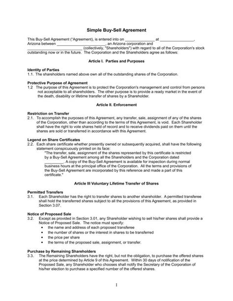 buy sell agreement template understanding the 3 fundamentals of a buy sell agreement free premium templates