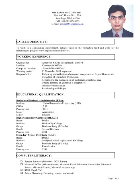 cv with photo