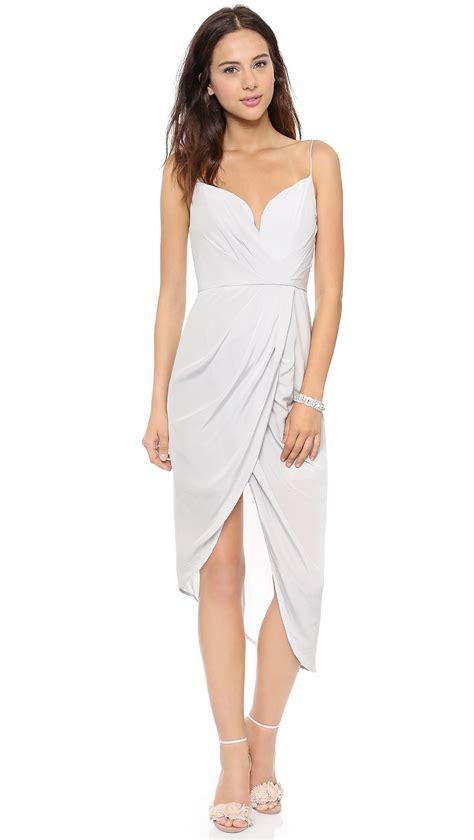 zimmermann silk plunge draped dress mist in white lyst