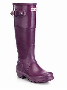 Hunter Original Rubber Rain Boots in Purple (BRIGHT PLUM ...